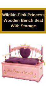 Wildkin Pink Princess Wooden Bench Seat With Storage