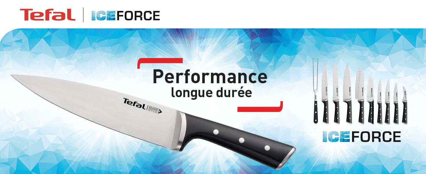 Collection de couteaux Ice Force de Tefal, les couteaux à la performance de longue durée