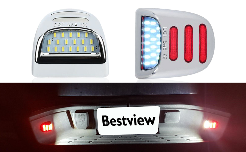 Bestview LED License Plate Lights Tag Lamp Assembly Replacement
