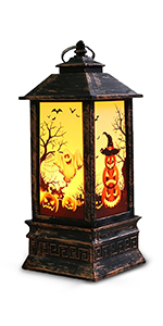 Halloween Decorations Lantern, Medium Size Vintage Style LED Night Light, Portable Pumpkin Lamp,