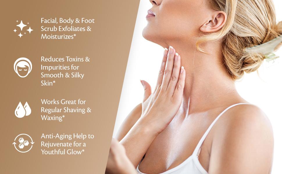facial body foot scrub exfoliates reduces toxins smooth silky skin shaving waxing anti-aging