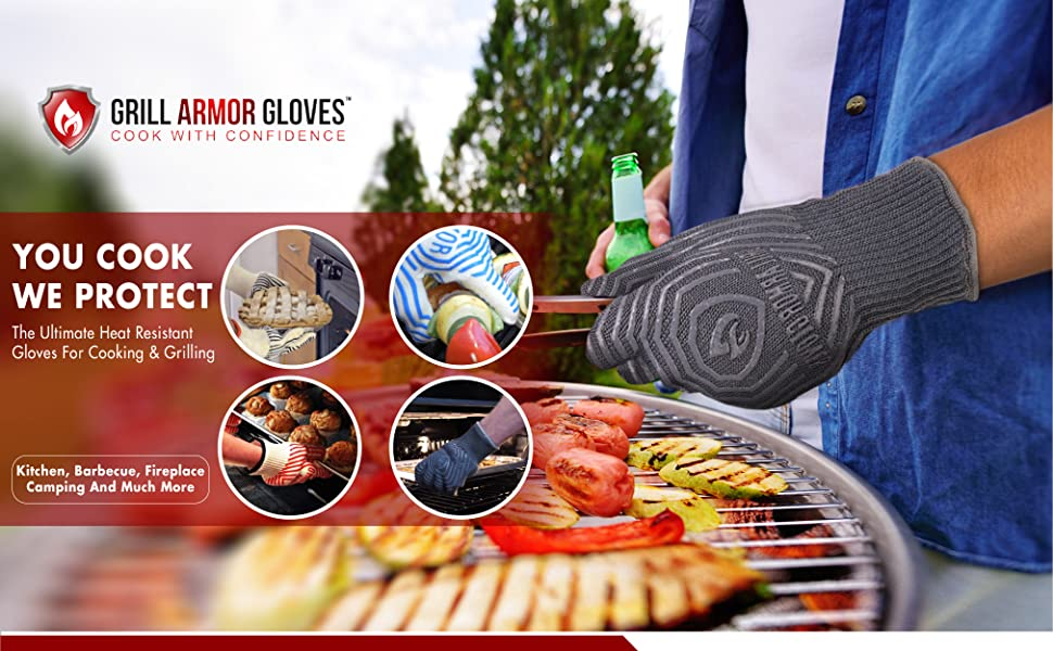 grill armor gloves grilling oven bbq barbeque outdoor cooking baking heat resistant ove glove grills