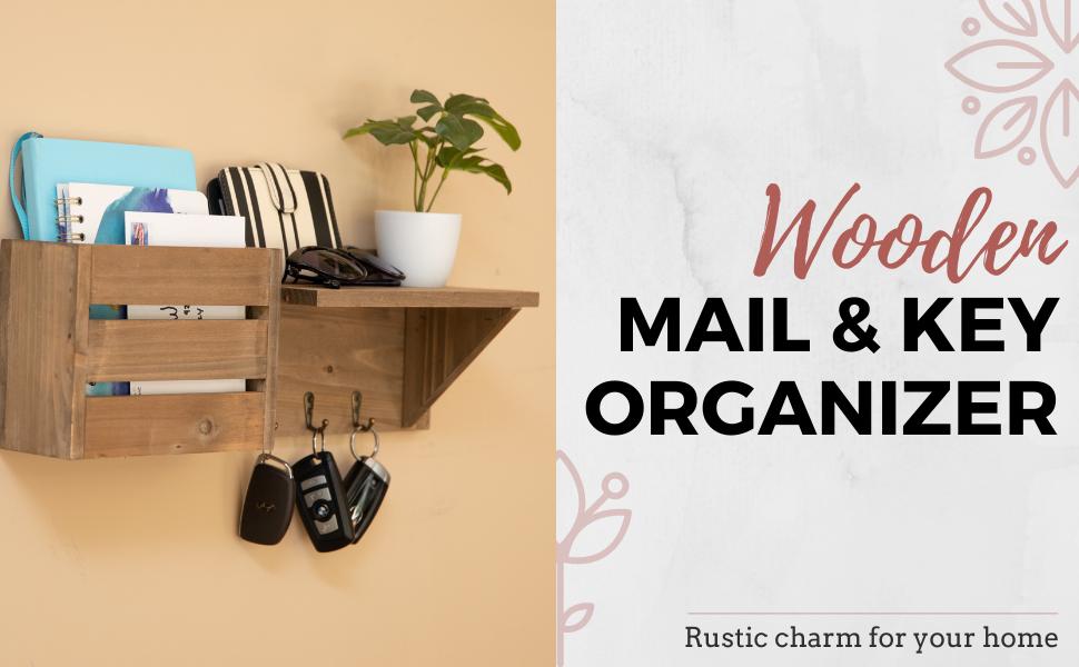 Ilyapa wooden mail and key organizer - rustic farmhouse home decor ideas