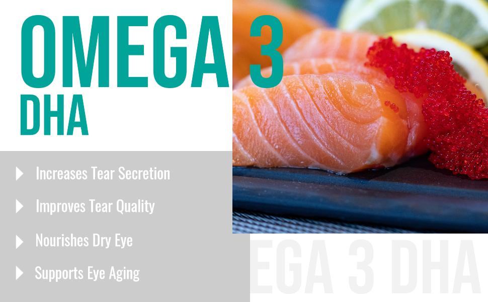 omega 3 fish oil DHA EPA dry eyes eye strain eye fatigue sore eye double vision  care safrin pro MD