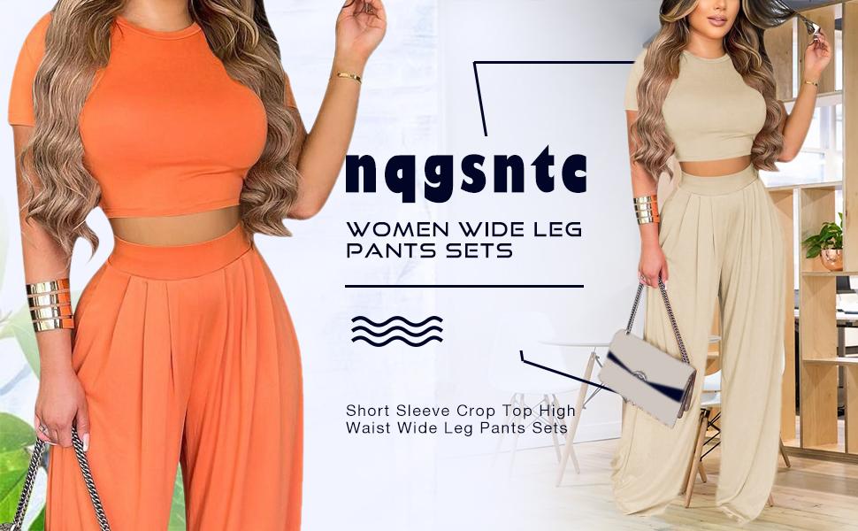 nqgsntc Women's Sexy 2 Piece Outfits Set Crop Top High Waist Wide Leg Pants Sets