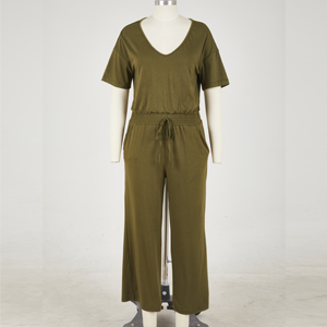 Green jumpsuit front view