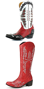 knee high boots for women chunky heel cowgirl boots