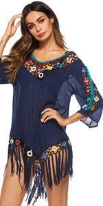 loops crochet tassels hollow out bikini beach bathing suit coverups for women 2021
