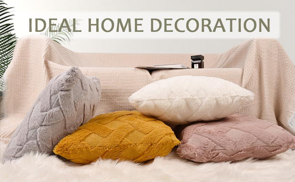 Short Wool Soft Plush Square Velvet Decorative Pillow Covers Farmhouse Pillow Covers