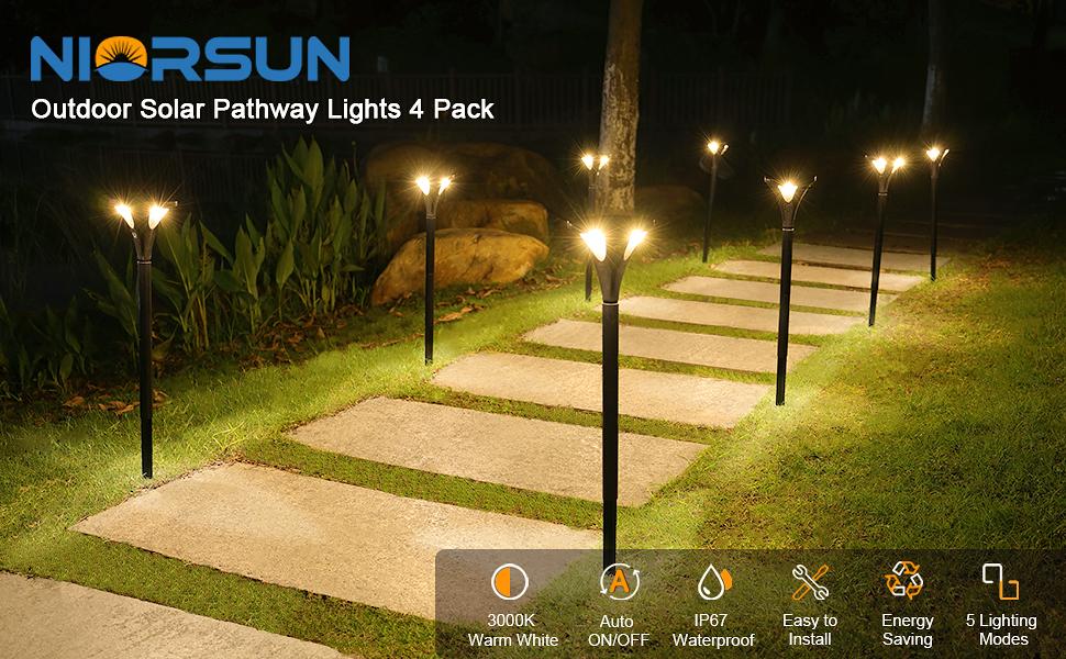 Solar pathway lights warm white 4 pack