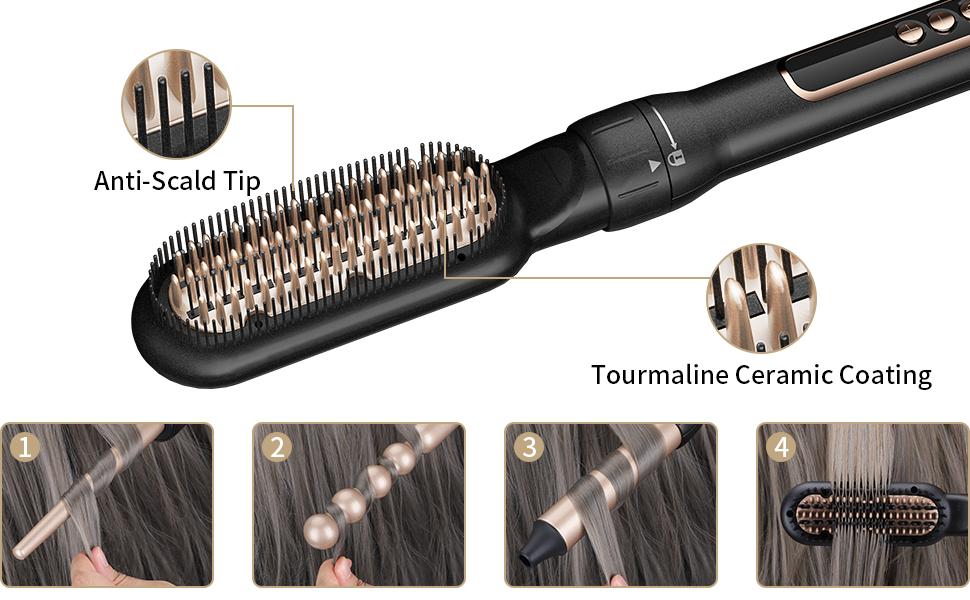hair straightener brush tourmaline ceramic coating adjustable temperature curling wand iron set
