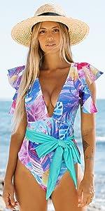 Binlowis Deep V Neck Flounce One Piece Swimsuit Ladies Floral Print Plunging Beachwear Bathing Suit