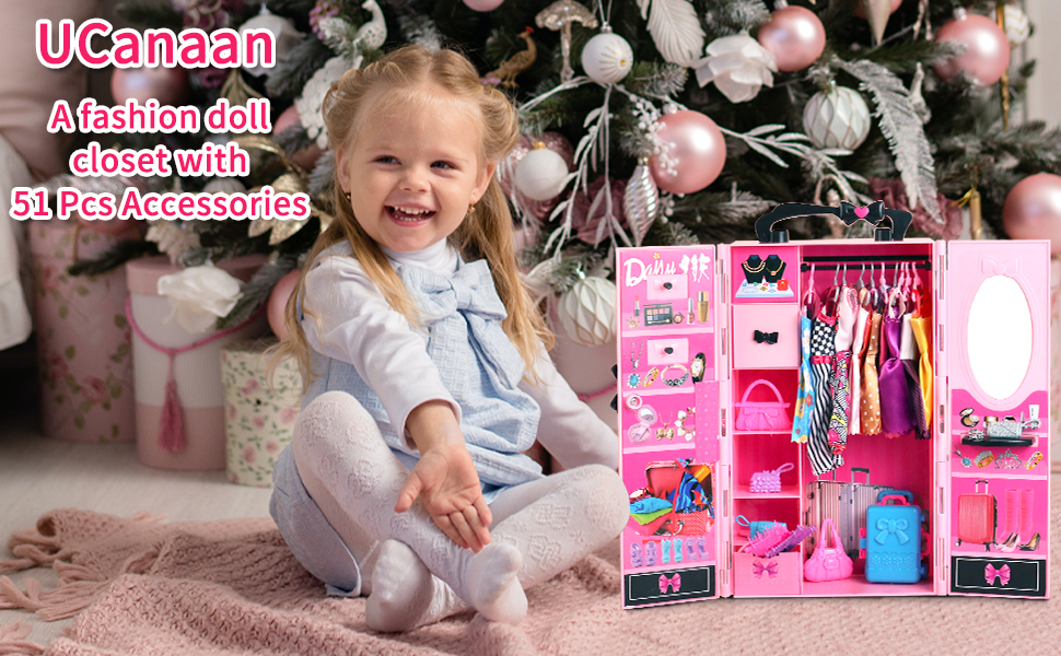 A fashion doll closet with 51 Pcs Accessories