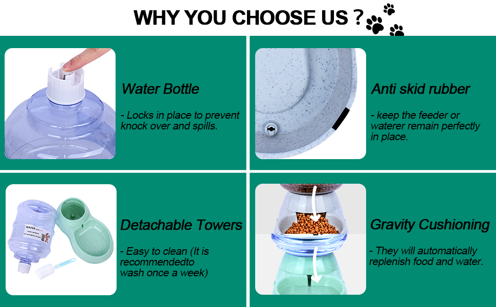 cat food and water dispenser set