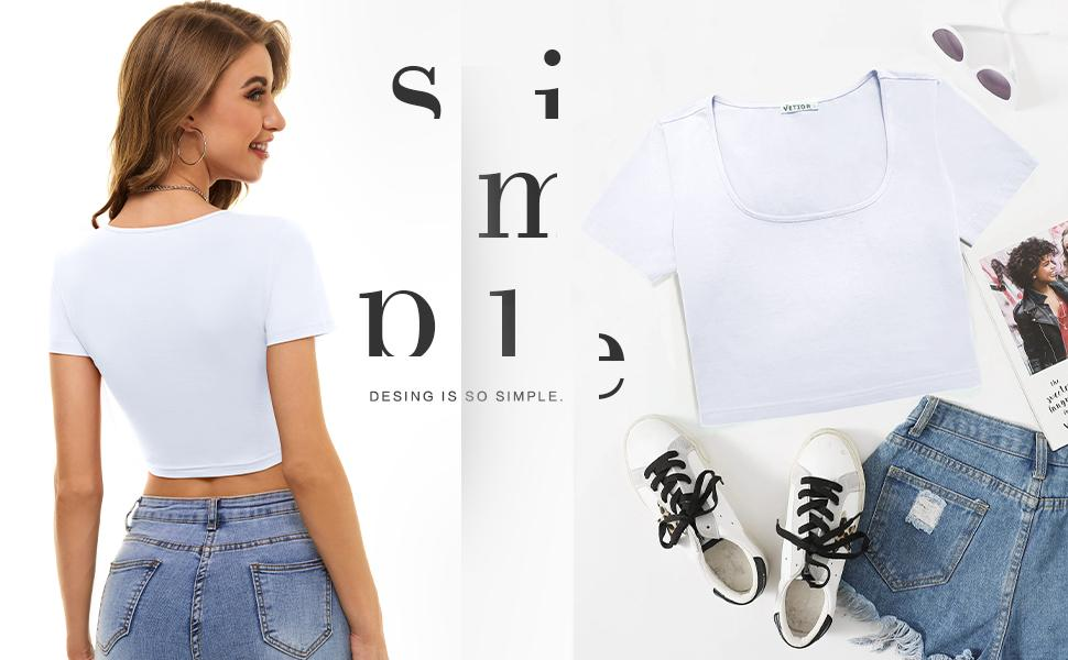 A must-have white tshirt for leisure, an indispensable top for your wardrobe.