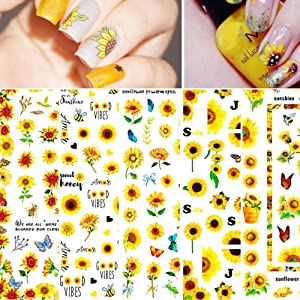 Nail Stickers Blossom Florals Nail Art Water Decals Transfer Foils Sliders Decorations for Manicure