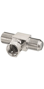 F Type Splitter 3 Way Connector F Male to Dual F Female Coaxial Adapter 2pcs