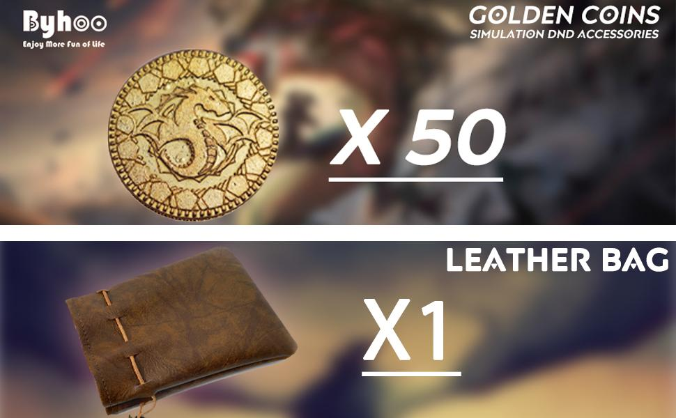 dnd coins and leather bag