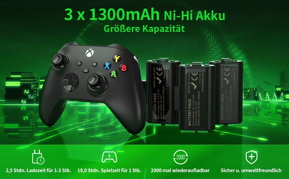 3x1300hAh Ni-Hi Akku - Größere Kapazität