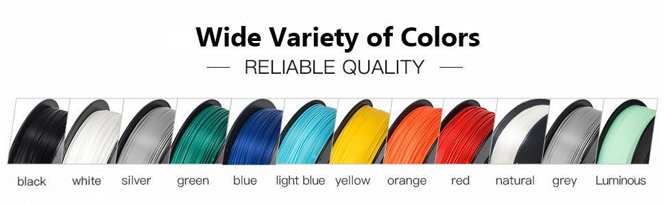 PLA + pro PLA+ filament colors black white silver green blue yellow orange red natural grey gray