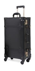 vintage black rolling luggage