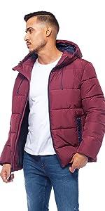 rokka and rolla mens burgundy heavy puffer jacket winter bubble coat
