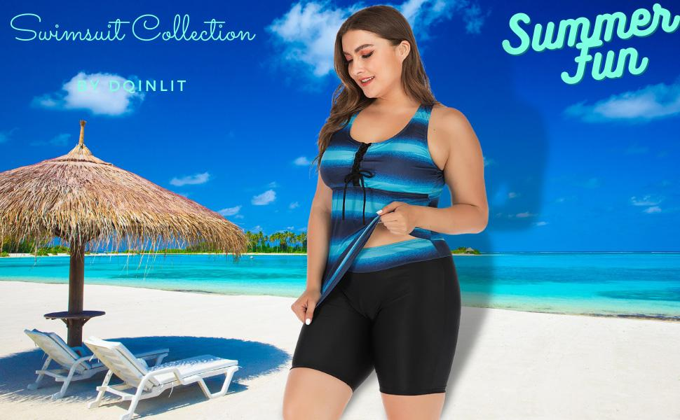 ombre navy striped racer back swimming bathing suits for women tummy control swimwear swimsuit 2021