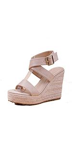 women ankle strap platform wedge sandals