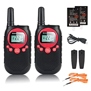 adults kids walkie talkies rechargeable two way radio 2 pack red frs family