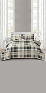 green yellow plaid bedspread coverlet set
