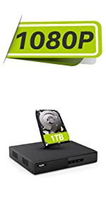 SANNCE 1080P DVR WITH 1 TB HARD DRIVE