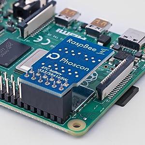 RaspBee II modul monterad på en Raspberry Pi 4B