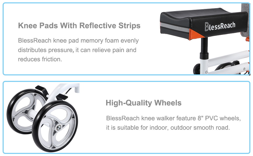 Lap cushions and high-quality wheels for comfort and safety
