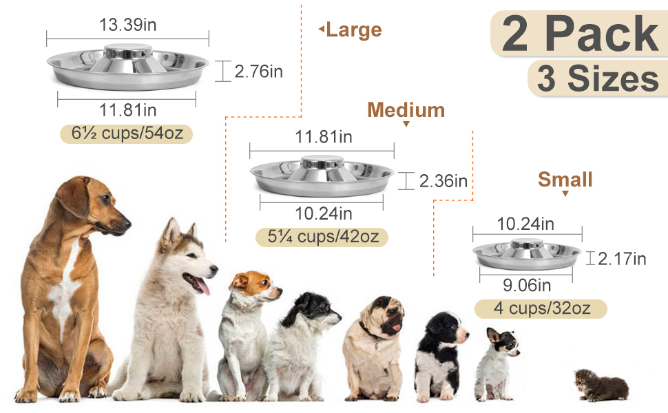 Stainless Steel Puppy Bowls Set of 2 Dog Food and Water Bowl Litter Feeding Whelping Weaning Dishes