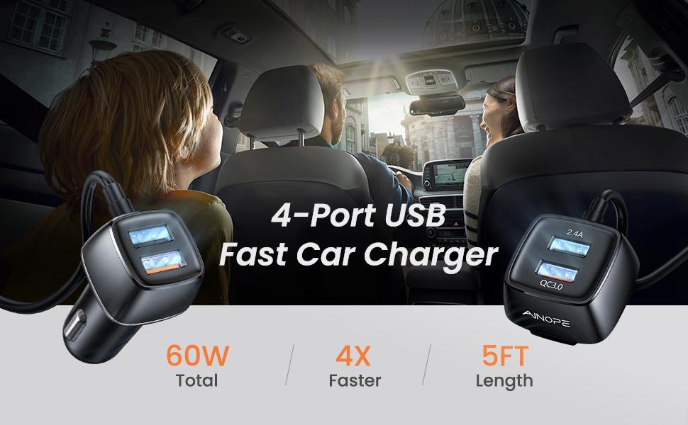 USB car charger 4-port
