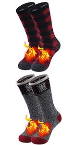 Winter Warm Thermal Socks Men Women Thick Insulated Heated Fur Lined Fuzzy Heavy Crew Socks