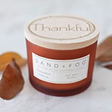 """Sand + Fog cinnamon vanilla scented candle with """"thankful"""" etched on wood lid"""