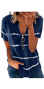 Summer Tops for Women Short Sleeve with Zip Blue