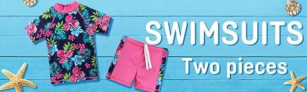 Girls Rash Guard Two Piece Swimsuit