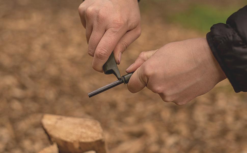 asr outdoor fire starter flint rod emergency preparedness items camping gear hiking tools keychain