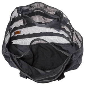 mesh beach bag with two quick accessible zippered pocket for holding goodies