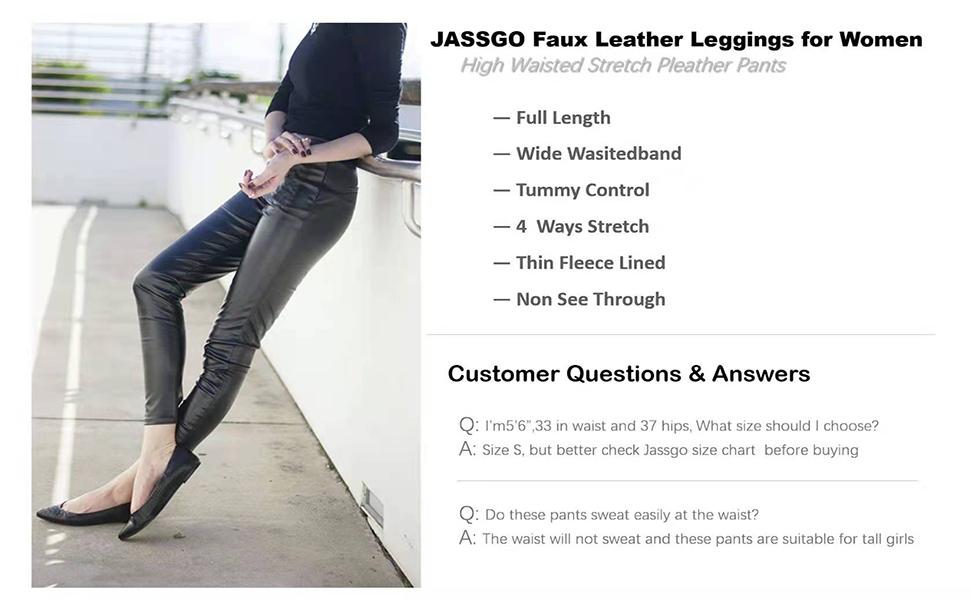 black leather leggings for women