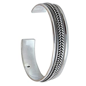 NOVICA,Sterling Silver,Cuff,Bracelet,Jewelry, For Women,Grey,Gift,Leaves,Bangle ,Metal,Fashion,Hand