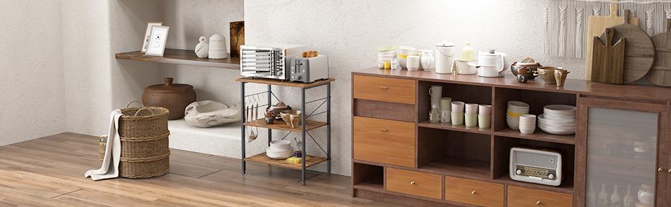 Kitchen Baker's Rack, Kitchen Utility Storage Shelf Microwave Oven Stand Cart