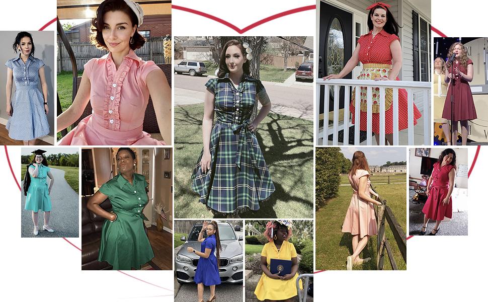 Wedtrend Women's 40s Vintage Retro Rockabilly Dress Cap Sleeve Homecoming Dress with Belt