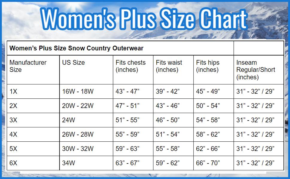 size chart plus size ski jackets ski pants winter jacket rain jacket