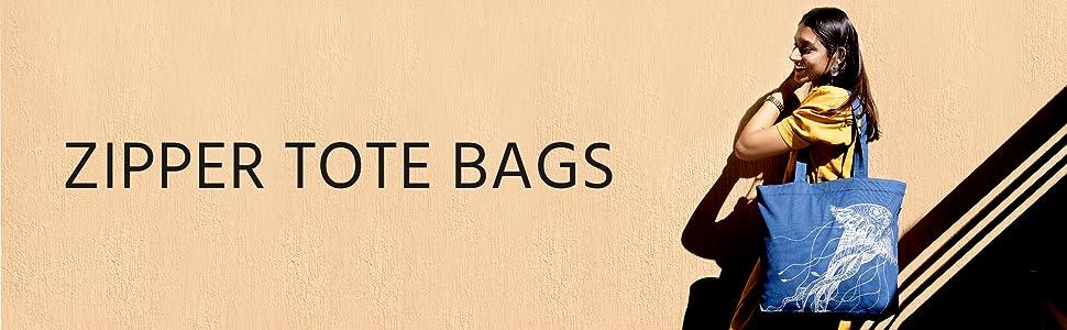 Zipper Tote bags