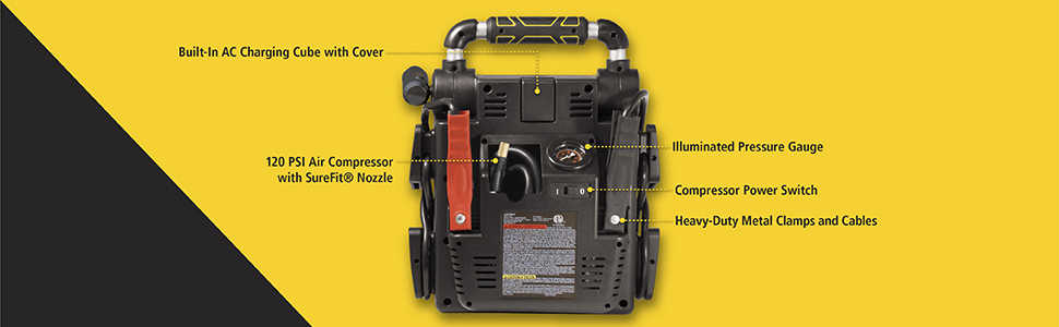 Built-in AC charging cube with cover, PSI air compressor with nozzle, and pressure gauge.