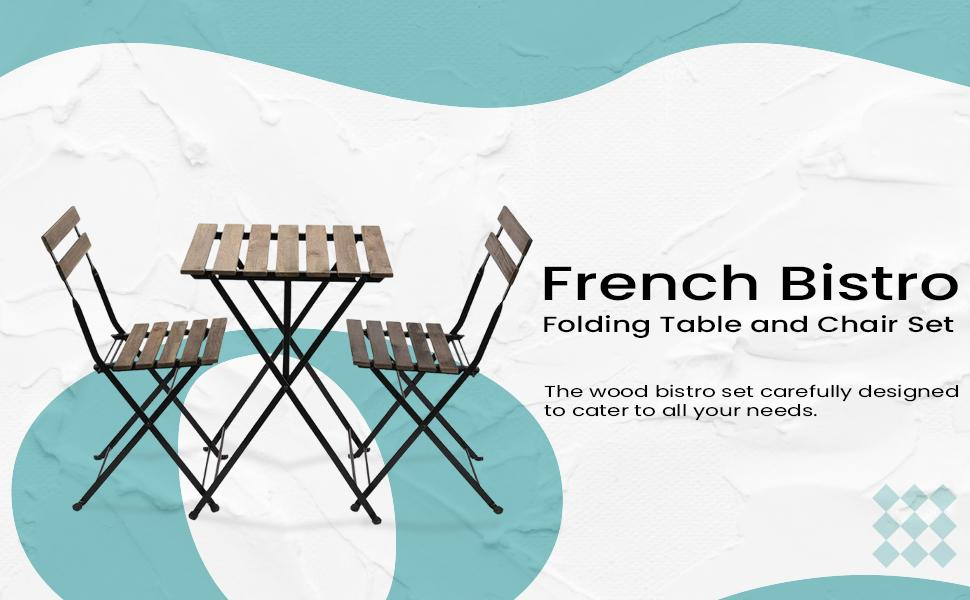 French Bistro Folding Table and Chair