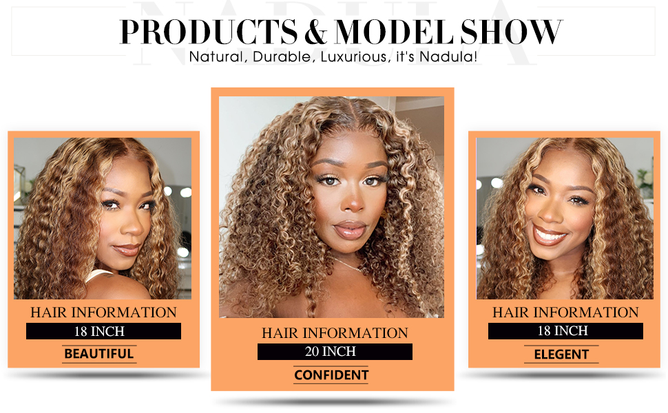 Nadula ombre deep wave lace frontal wigs human hair